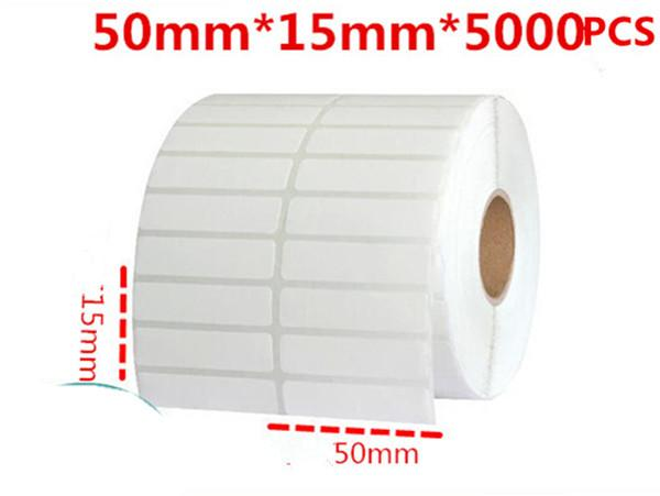 50*15mm 5000pcs/roll blank white free shipping office coated paper barcode self adhesive label logistic paper sticker handwritting sticker