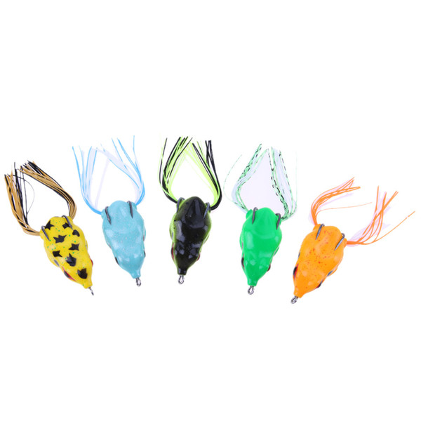 5pcs Soft Frog Fishing Lures Lifelike Bionic Baits Fishing Tackle 5.5cm/11g Double Hooks Fishing Artificial Bait Fake Lure