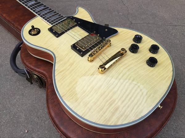 Personnalisé 1959 Flame Maple Top Guitare Électrique Naturelle 5 Épaisseurs Corps Reliure En Palissandre Touche Trapèze Blanc Mère De Perle Incrustation