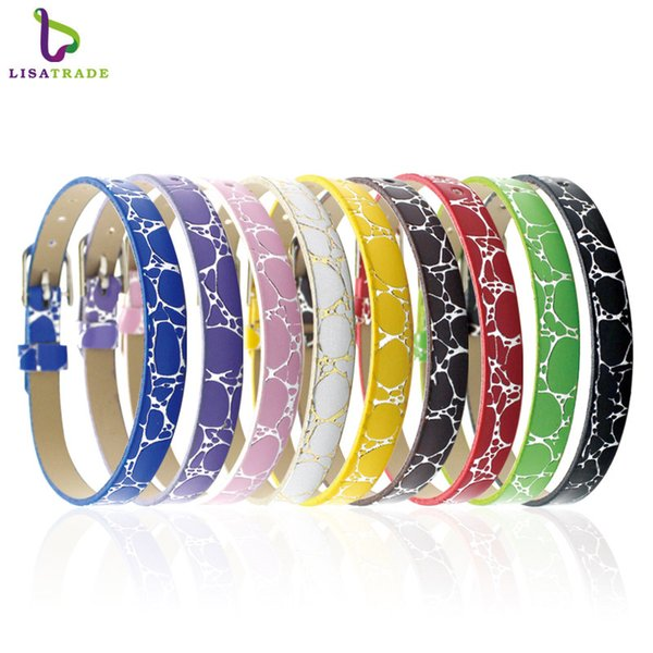 "10PCS! 8MM PU Leather Wristband Bracelets "" Can Choose Color"" (10 pieces/lot) DIY Accessory Fit Slide Letter /Slide Charms LSBR04*10"