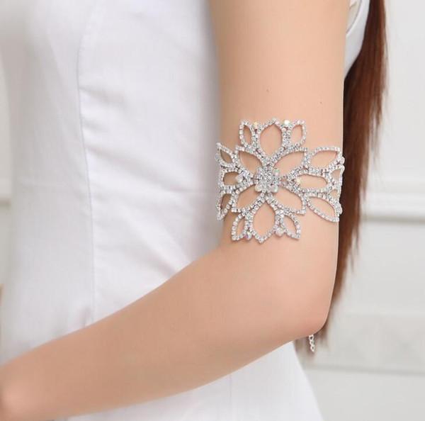 shunwedding / Fashion Rhinestone Crystal Arm Bracelet Big Flower Floral Bridal Ankle Bracelets & Bangles Hand Chain Jewelry Accessory