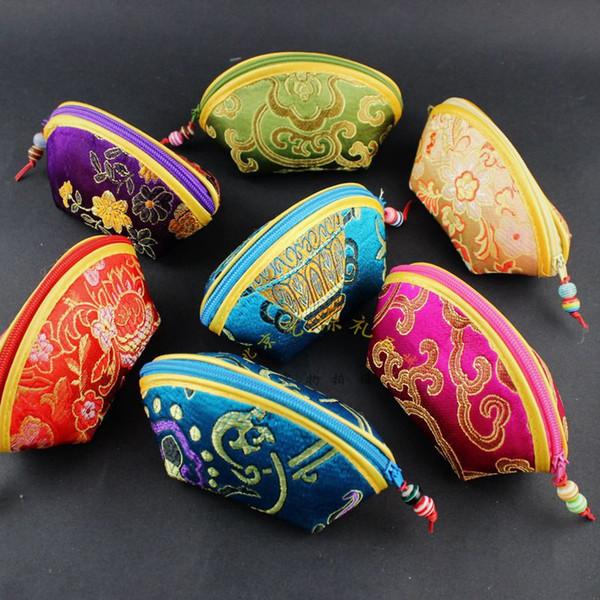 Großhandel Qualitäts Nette Kleine Muschel Schmuck Reißverschlusstaschen Die Silk Brokat Münzen Aufbewahrungsbeutel Süßigkeit Geschenk Beutel