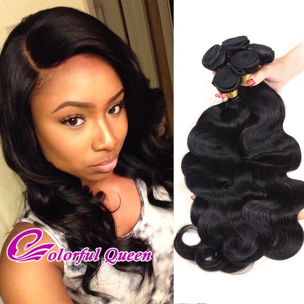 Body Wave Indian Hair 4Pcs 7A Unprocessed Raw Indian Virgin Hair Weave Bundles 400g/lot Colorful Queen Wavy Black Hair 8-30 Inch