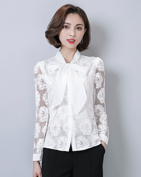2017 Women Blouses Bow Collar Plus Size Ladies Chiffon White ...