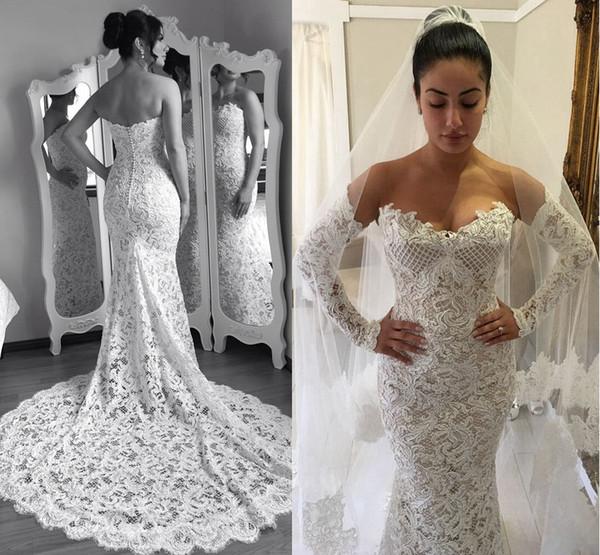 Mermaid Guipure Lace Garden Wedding Dresses Bohemian Long Sleeves ...
