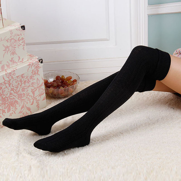 Fashion Sexy Warm Long Cotton Stocking Over Knee Stocking Women Winter Knee High Socks Thigh Knitted Stockings