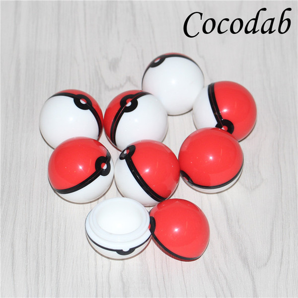 2017 New Arrival Pokeball Silicone Case Food Grade Wax Container Jars Gel Ball Shaped Storage Box Herbal Vaporizer Glass Bong Accessories