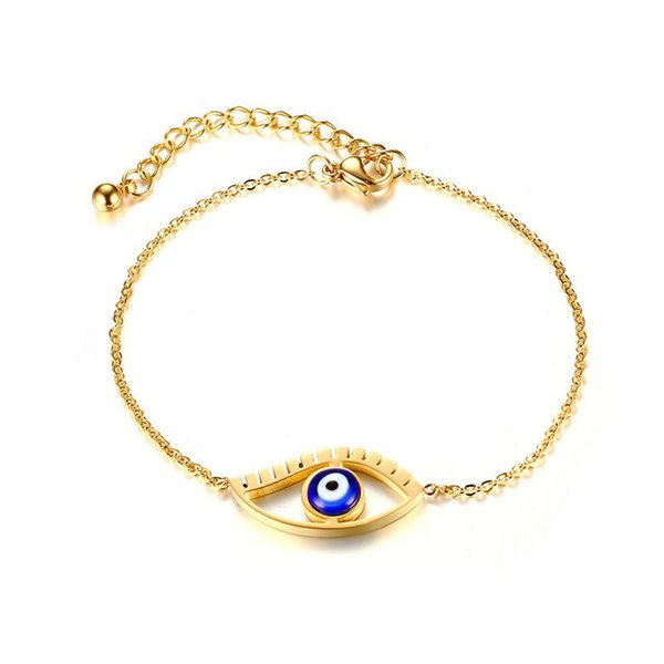 Womens Fashion Link chain Bracelets Gold Plated Stainless Steel Horus Eye Bracelet Bangle jewelry gifts wholesale Free Shipping