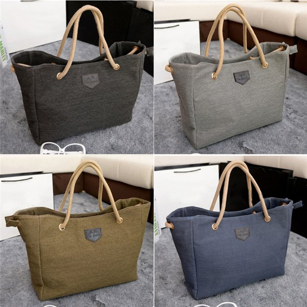 Wholesale-2016 Summer Style Large Canvas Shopper Tote Bag Shoulder New Womens Ladies Handbag Designer Style For a Gift Free Shipping N759