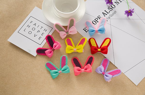 Girls Rabbit Ear Hair Clips Korean Style Dot Bow Knot Ear Hair Barrettes Candy Colors Hair Pins Best Gift for Girls 8 COlors Free shipping