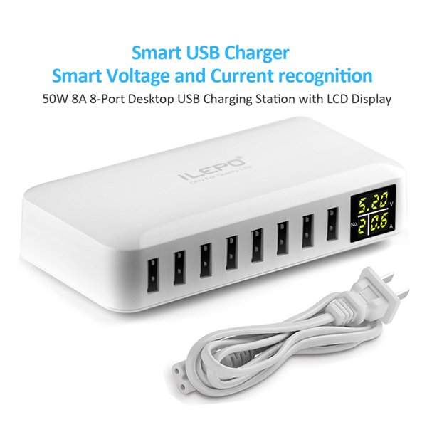 iLepo 8-Ports Desktop Charging Station Smart USB Charger Power Bank Phone Chargers with LCD Display for kinds of cellphones Pad