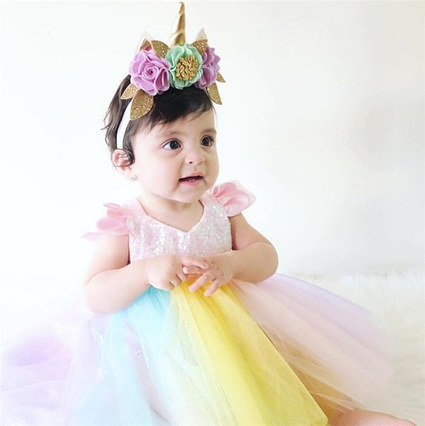 Baby Girl Princess Tutu Dress Rainbow Color Sequined Lace Boutique Romper Toddler Clothing Party Wedding Flower Girl Dresses Kid Clothes