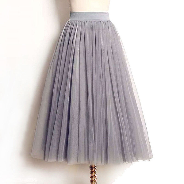 Wholesale- 4 Layers Tulle Skirts Women Summer Elastic High Waist Ladies long mesh Skirt Womens Tutu Maxi Pleated Skirt midi Faldas Saias