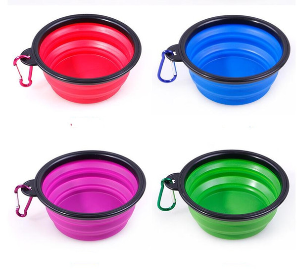 best selling Portable Silicone Collapsible pet Dog Bowl Cat Puppy Pet Feeding Travel Bowl with Carabiner Easy Carry Pet Food Bowl Feeder Dish with hook