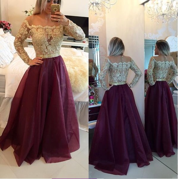 Gold Applique Red Tulle Dress A-Line Long Sleeves Jewel Covered Button Vintage Evening Dresses 2018 Floor Length Evening Gowns