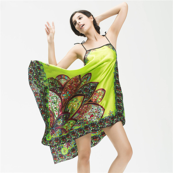 Women Nightwear Sexy Silk Satin Robe Nightdress Mujer Bathrobe Sleepwear Home Clothing Nightgown Female Feminino SlashNeck Dress