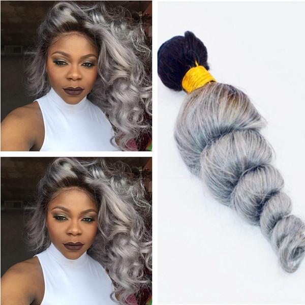 Top Quality Ombre Color 1B Grey Human Hair Bundles Two Tone Malaysian Virgin Hair Weft 1B Grey Loose Wave Hair Extension 3Bundles