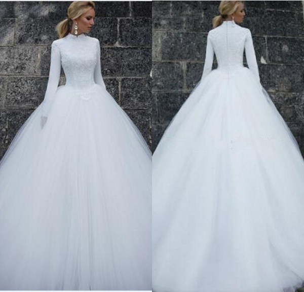 New Hot A Line High Collar Long Sleeve Wedding Dresses Muslim Chapel Train White Tulle Lace Top Cheap Wedding Dress