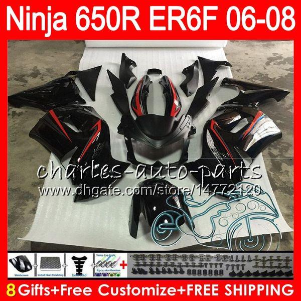 8 Hediyeler 23 Renkler Vücut KAWASAKI NINJA 650R ER6F 06 07 08 Ninja650R 20HM18 Yeni kırmızı siyah ER 6F 06-08 ER6 F ER-6F 2006 2007 2008 Fairing Kit