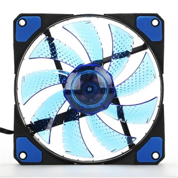 Venta al por mayor- Mejor precio 15 LED Luz Muy 120mm DC 12V 4Pin Caja de la computadora PC Enfriar Cool Fan Mod