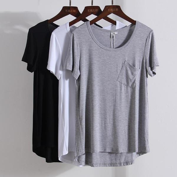 Modal Kısa Sleeveso Boyun Gevşek T Shirt Yaz Yeni Gelenler Dip Cep Rahat Avrupa Tarzı Moda Kadınlar Kaliteli Tops