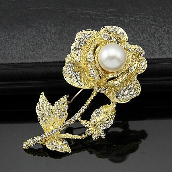 Shinny Rhinestone Pearl Rose Flower Brooch Pins Luxury Crystal Gold Flower Corsage Bride Wedding Jewelry Brooches for Man Women Dress