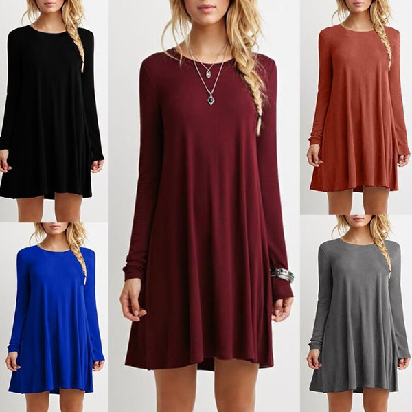 Long sleeve dresses plus size women clothing loose thin solid color black dress ladies china clothes casual dresses for womens