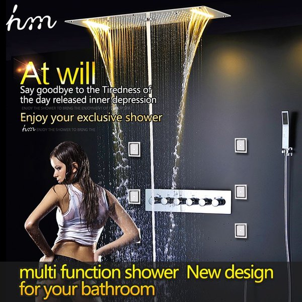 Concealed thermostatic shower set SUS304 mirror panel with LED shower head 380x700 rainfall mist spray waterfall water column -T 161222#