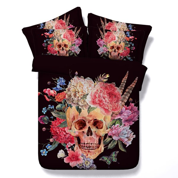 Dark Color 3D Bedding Sets Skull And Flowers Printed 4pcs Comforter Sets Queen King Size Duvet Cover Bed Sheet Pillowcases