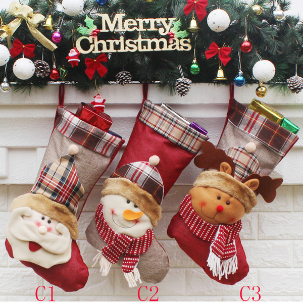 2017 new 4 models (12colors) Christmas socks ornament decorations party Christmas socks candy socks Christmas gift bag hot