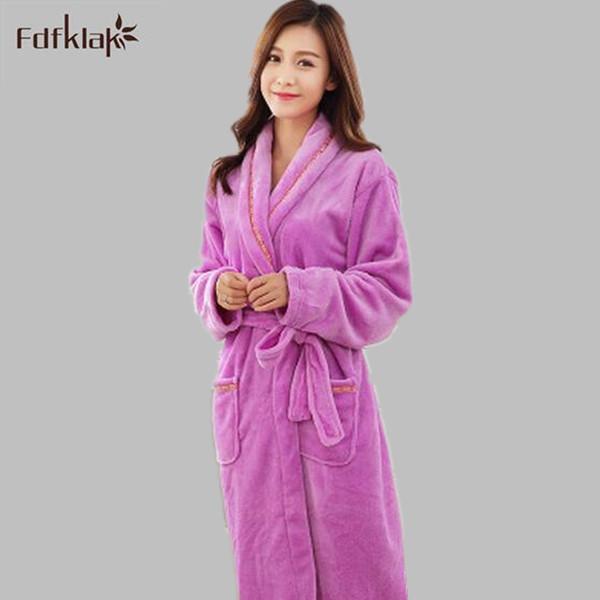 Wholesale- Flannel Lovers Ladies Bathrobes Autumn Winter Robe 2016 Male  Women Thicken Coral Fleece Pyjamas Sleepwear Lounge Kimono Feminino 710254f49