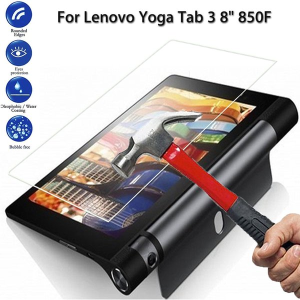 Wholesale- 9H Hardness Tempered Glass Screen Protector Film For Lenovo Yoga Tab 3 850F New 8inch Tablet Screen Film Protector For Lenovo