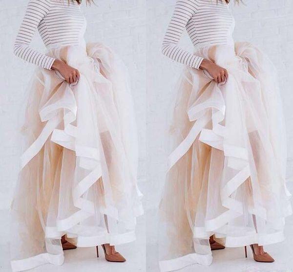 Tulle Style Maxi Jupe avec Satin Ruban Bord Champagne À Volants Jupes Élégantes pour Femmes Sexy Femme Longue Jupes D'hiver