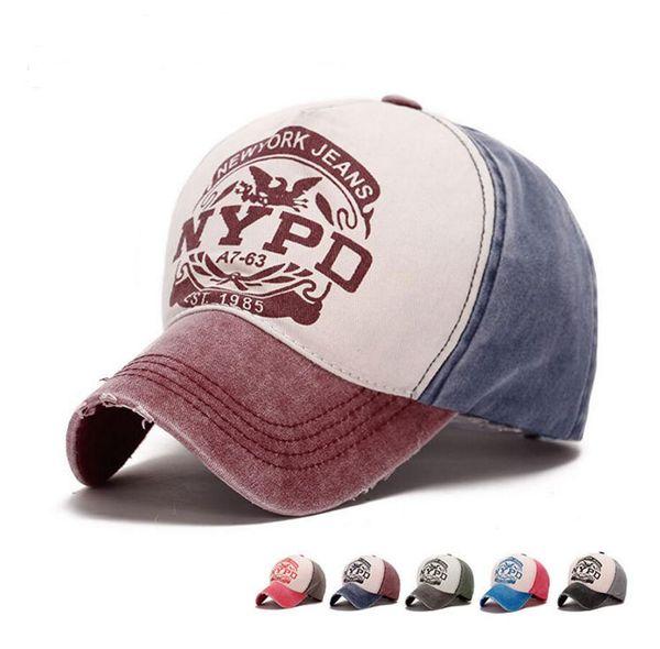 NYPD письма печатных Гольф бейсболка Спорт на открытом воздухе Мужчины Женщины хлопок утка язык отверстие шляпа затенение Оптовая