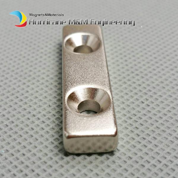 20pcs NdFeB Fix Magnet 40x15x10mm with 2 M4 Screw Countersunk Holes Block N42 Neodymium Rare Earth Permanent Magnet
