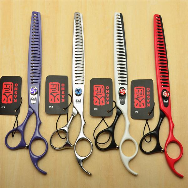 Wholesale- 8 inch 22.5cm Japan Kasho Professional Dogs Cats Pets Hair Shears Hairdressing Scissors 23 Teeth Fishbone Thinning Shears H4004