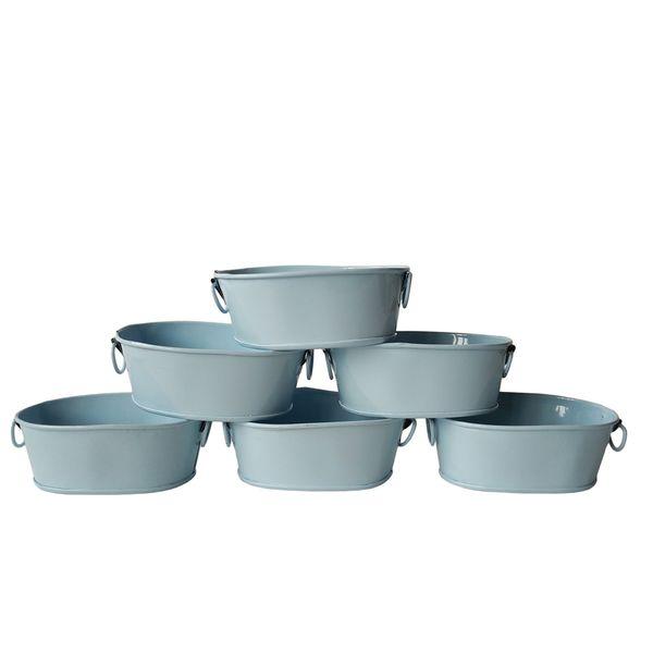 Free shipping mini sky blue oval Small metal Succulent pots Flower pot Planter mini Nursery Pot
