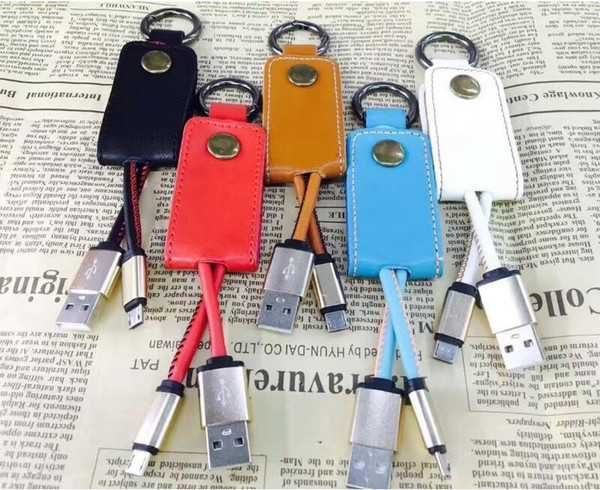 Cavo dati in pelle per caricabatterie USB Keychain 2A USB veloce per samsung S7 S8 android phone