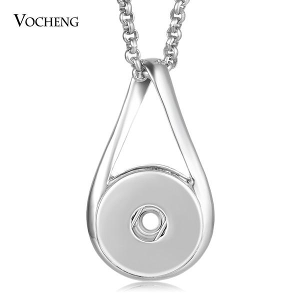 VOCHENG Нуса имбирь Оснастки кнопки ювелирные изделия Оснастки подвески ожерелье 18 мм кулон с цепочкой из нержавеющей стали NN-628