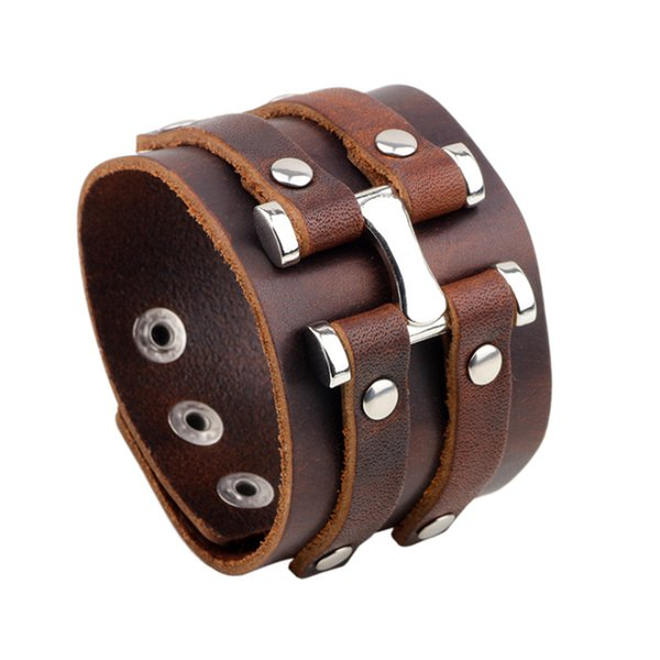 Punk Unisex Mens Jewelry 100% Real Genuine Leather Cowhide Black/Brown Rivet Adjustable Wristband Metal Buckle Bracelets Bangles