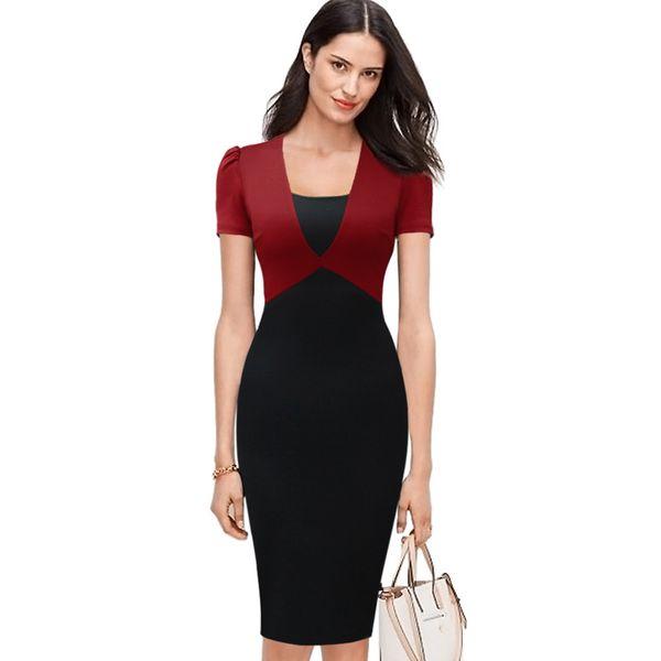 Nueva Desi Womens Contraste elegante Colorblock Patchwork Delgado de cintura alta Modest Work Office Business Casual Party Bodycon Dress