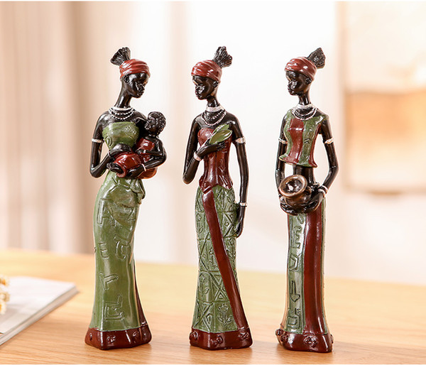3-piece African women resin crafts handcrafted novelty home furnishings decorative living room ornaments New year Christmas home decorations