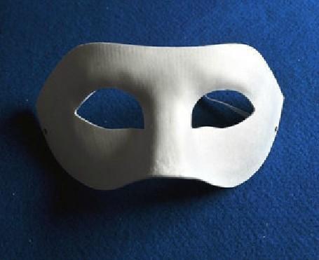 Maschera Zorro fai-da-te bianca semi-solida di Halloween Maschera da abbinamento di carta bianca Novità Maschera per travestimento di Halloween # H61A