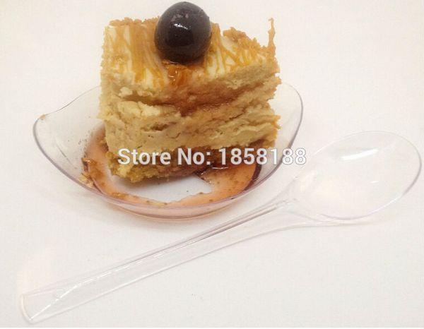 Wholesale- 100pcs/lot Disposable Plastic Mini Small Dish Dessert Plastic Cake Dish Mini Small Cake Plate For Festival Wedding