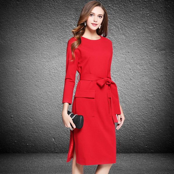 Großhandel Rote Knie Länge A Linie Frauen Arbeiten Kleider 2018 Mode ...