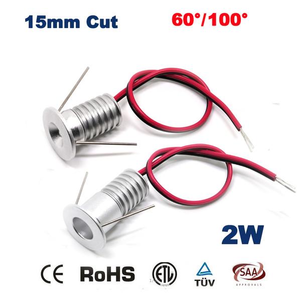 Wholesale- 12PCS 2W 15mm Mini Led Down Lamp 80Ra 180Lm Bed Room Night Lights 2 Watt Bulb Light 5 Years Warranty