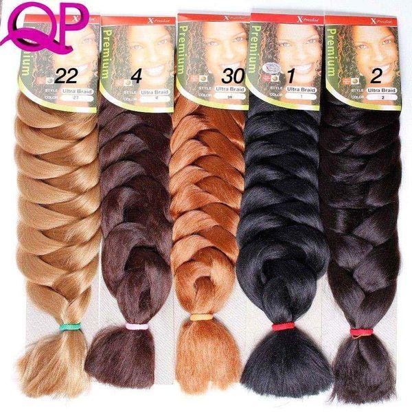 "top popular 1pc Kanekalon Xpressions Braiding Hair Extensions 82"" Box Braid braids Kanekalon Jumbo Braid Hair Bulks African Braids Hair Pieces For Women 2020"