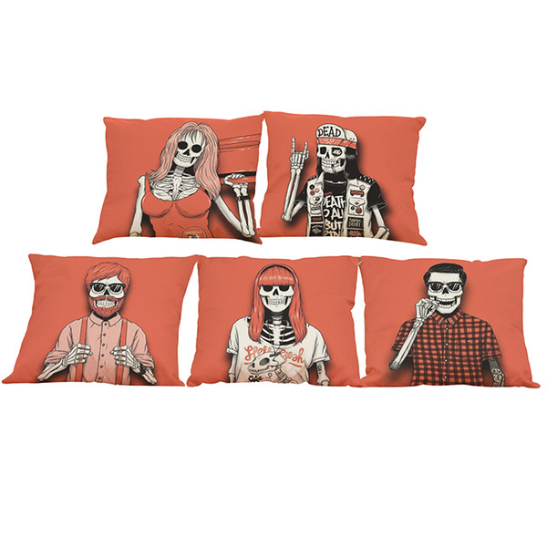 Creative Skull Linen Cushion Cover Home Office Sofa Square Pillow Case Decorative Cushion Covers Pillowcases Without Insert(18*18Inch)