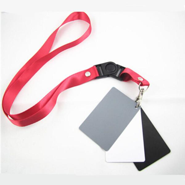 Großhandels-Kamera Zubehör 3in1 Pocket-Size Digital Weiß Schwarz Grau Balance Karten 18% Grau Karte mit Umhängeband für Fotografie DSLR