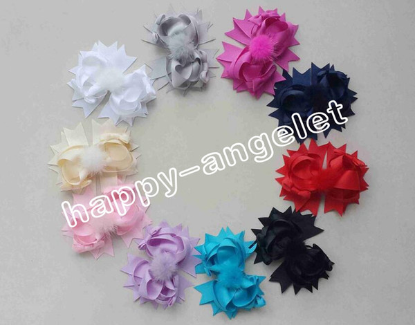 """50pcs Boutique lady girl 4.5"""" fabric and fur pom pom hair bows clips pompon headwear pompoms hair elastic accessories Hairpins GR107"""